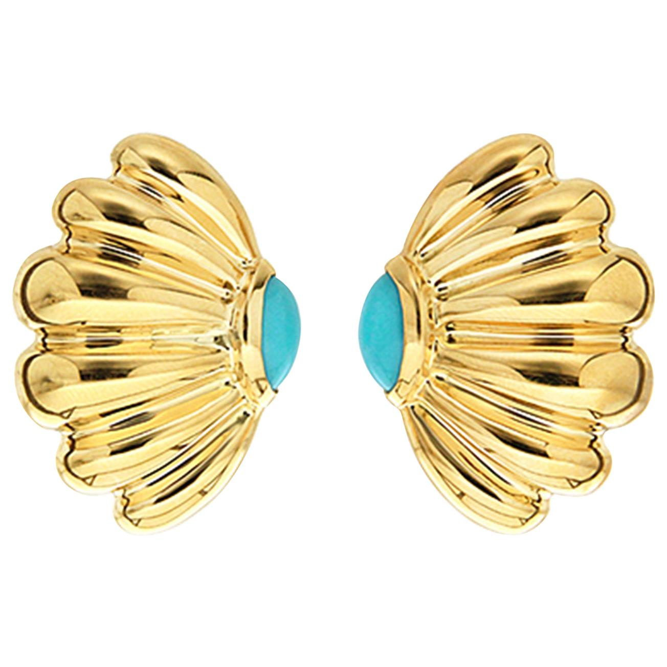 Valentin Magro Turquoise Cabochon Gold Sea Fan Earrings Emulate Soft Coral