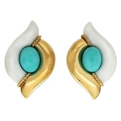 Valentin Magro Turquoise Cacholong Yellow Gold Double Pointed Earrings