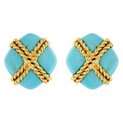 Valentin Magro Turquoise Criss Cross Earrings