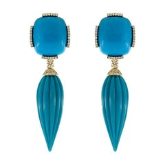 Valentin Magro Turquoise Drop Earrings with Diamonds