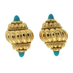 Valentin Magro Turquoise Ribbed Shell Earrings