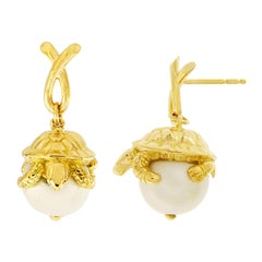 Valentin Magro Turtle Sitting on South Sea Pearl Earrings