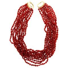 Valentin Magro Twelve Strands Dark Red Coral Pebble Necklace