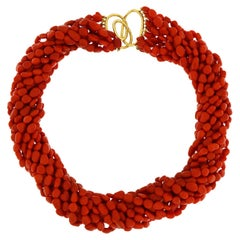 Valentin Magro 12 Strands Dark Red Coral Pebble Necklace