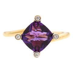 Valentin Magro Twist Ring with Amethyst in Gold with Diamonds