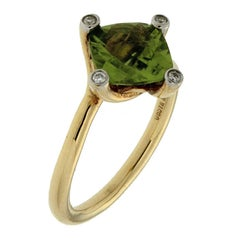 Valentin Magro Twist Ring with Peridot in Gold with Diamonds