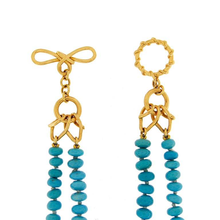 Valentin Magro Two-Strand Turquoise Rondelle Necklace In New Condition For Sale In New York, NY