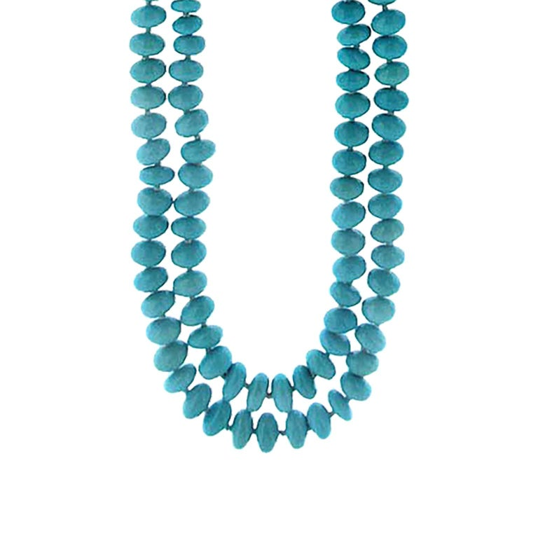 Women's Valentin Magro Two-Strand Turquoise Rondelle Necklace For Sale