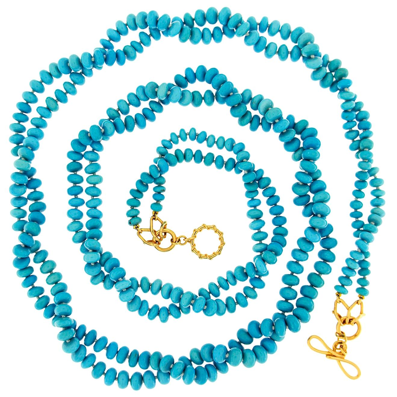 Valentin Magro Two-Strand Turquoise Rondelle Necklace