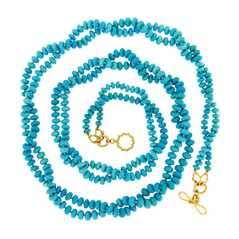 Valentin Magro Two-Strand Turquoise Rondelle Necklace For Sale