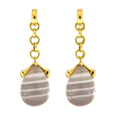 Valentin Magro Unique Agate and Diamond Drop Earrings in Yellow Gold