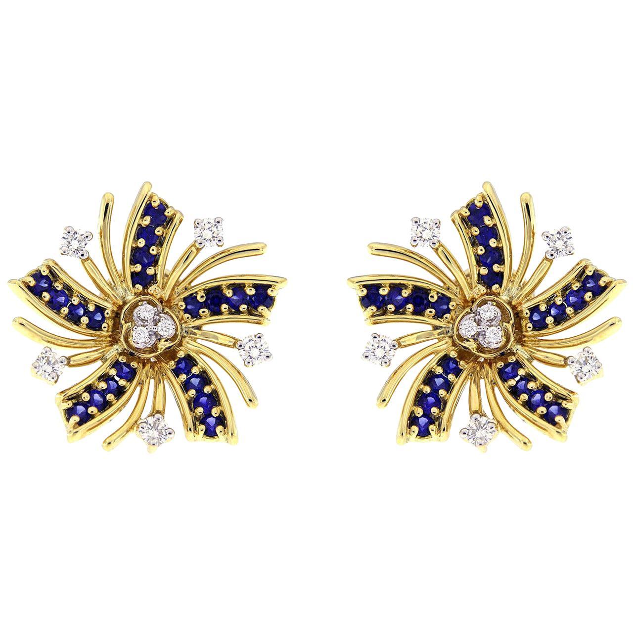 Valentin Magro Viva el Sol Diamond Sapphire Earrings