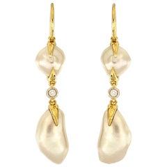 Valentin Magro White Double Keshi Earrings
