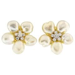 Valentin Magro White Keshi Pearl Diamond Flower Cluster Earrings