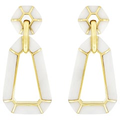 Valentin Magro White Onyx 18 Karat Yellow Gold Dangling Earrings