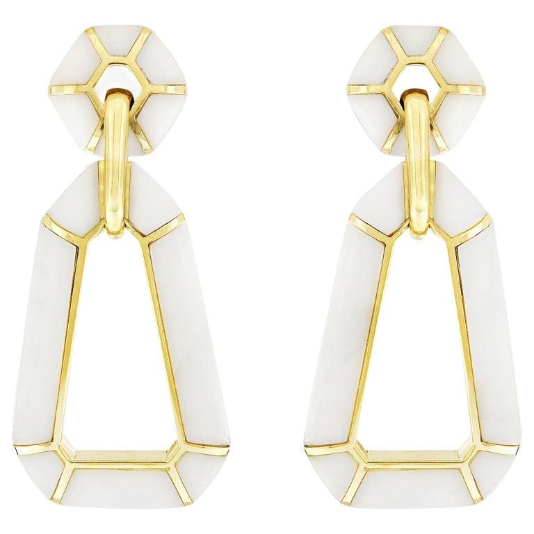 Valentin Magro White Onyx 18 Karat Yellow Gold Dangling Earrings For Sale