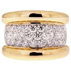 Valentin Magro Wide Pave Diamond Ring in Yellow Gold