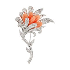 Valentin Magro Windblown Diamond and Coral Brooch