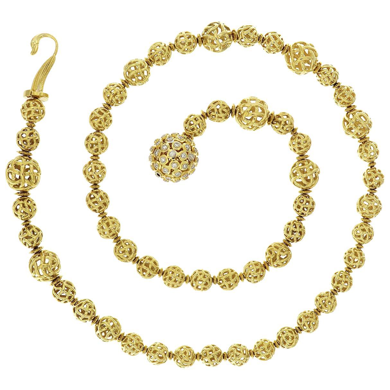 Valentin Magro Woven Ball 18 Karat Yellow Gold Diamond Lariat Necklace