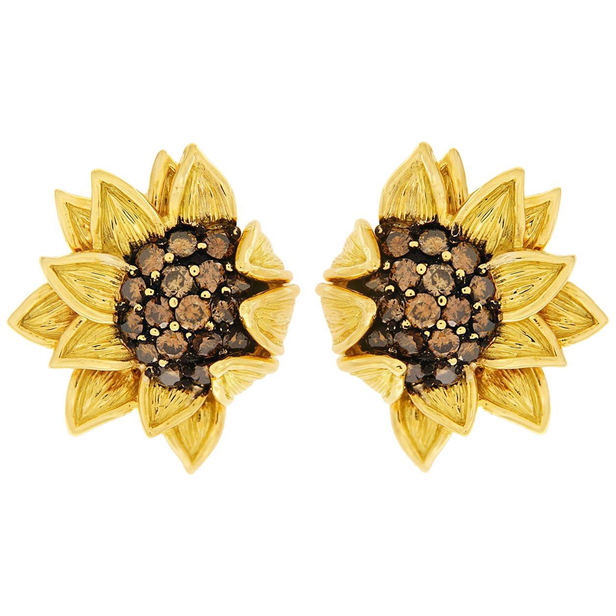 Valentin Magro Yellow Gold Cognac Diamond Sunflower Fold Over Earrings