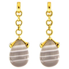 Valentin Magro Yellow Gold Diamond Agate Drop Earrings