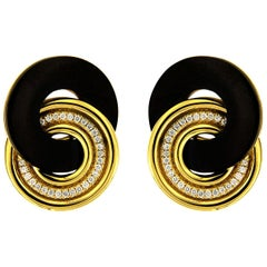 Valentin Magro Yellow Gold Diamond Black Jade Circle Earrings