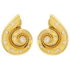 Valentin Magro Yellow Gold Diamond Burnish Set Snail Earrings