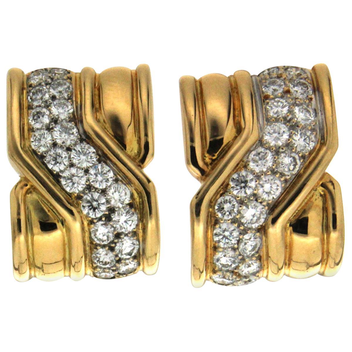 Valentin Magro Yellow Gold Diamond Criss Cross on the Town Earrings