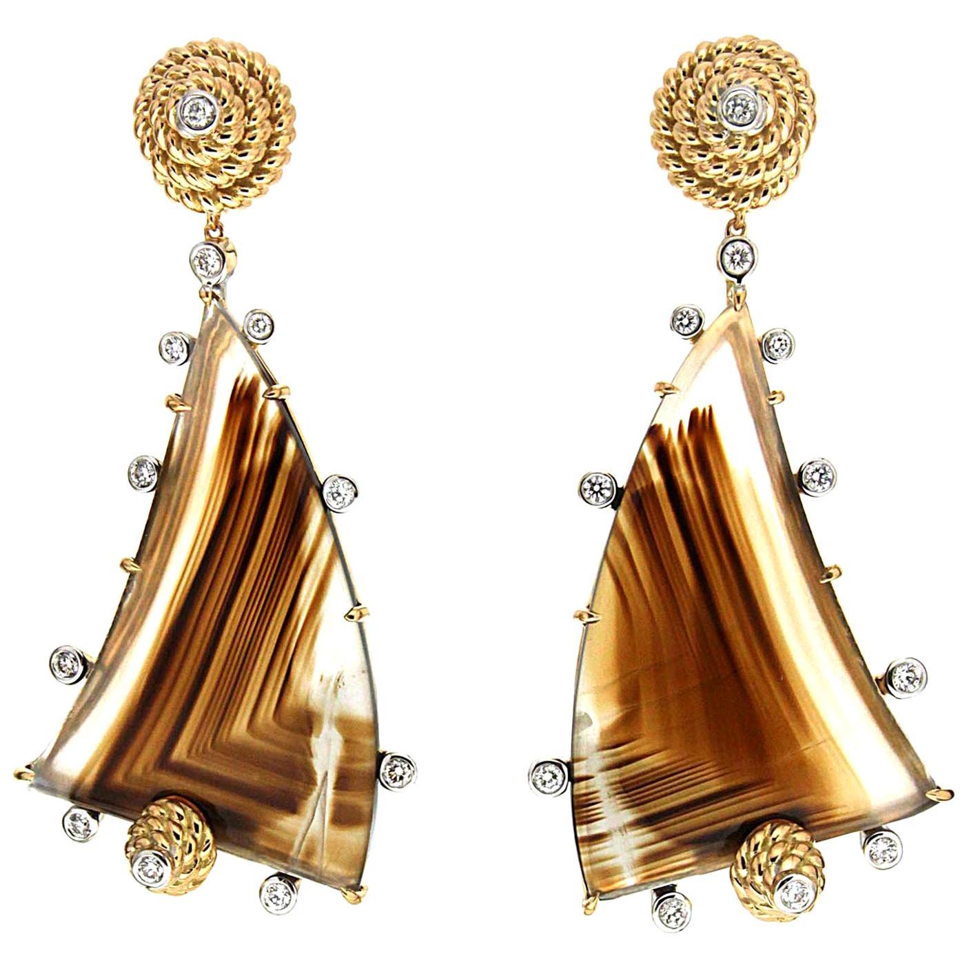 Valentin Magro Yellow Gold Diamond Montana Agate Drop Earrings