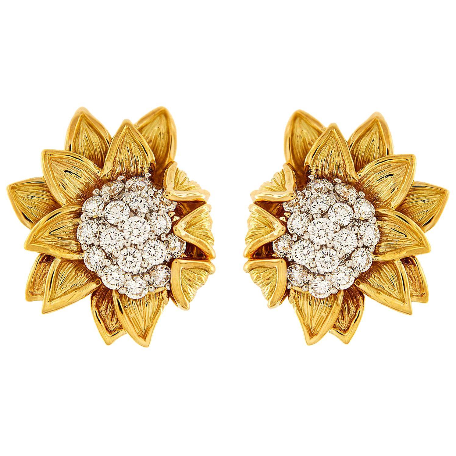 Valentin Magro Yellow Gold Diamond Sunflower Fold over Earrings