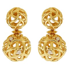 Valentin Magro Yellow Gold Diamond Woven Sphere Drop Earrings