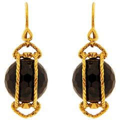 Valentin Magro Yellow Gold Doppio Black Onyx Twisted Rope Drop Earrings