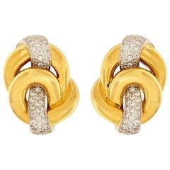 Valentin Magro Yellow Gold Platinum Diamond Circle Knot Earrings
