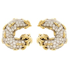 Valentin Magro Yellow Gold Platinum Diamond Circle Tear Drop Earrings