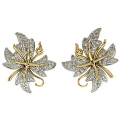 Valentin Magro Yellow Gold Platinum Diamond Flower Earrings