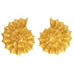 Valentin Magro Yellow Gold Scalloped Shell Earrings
