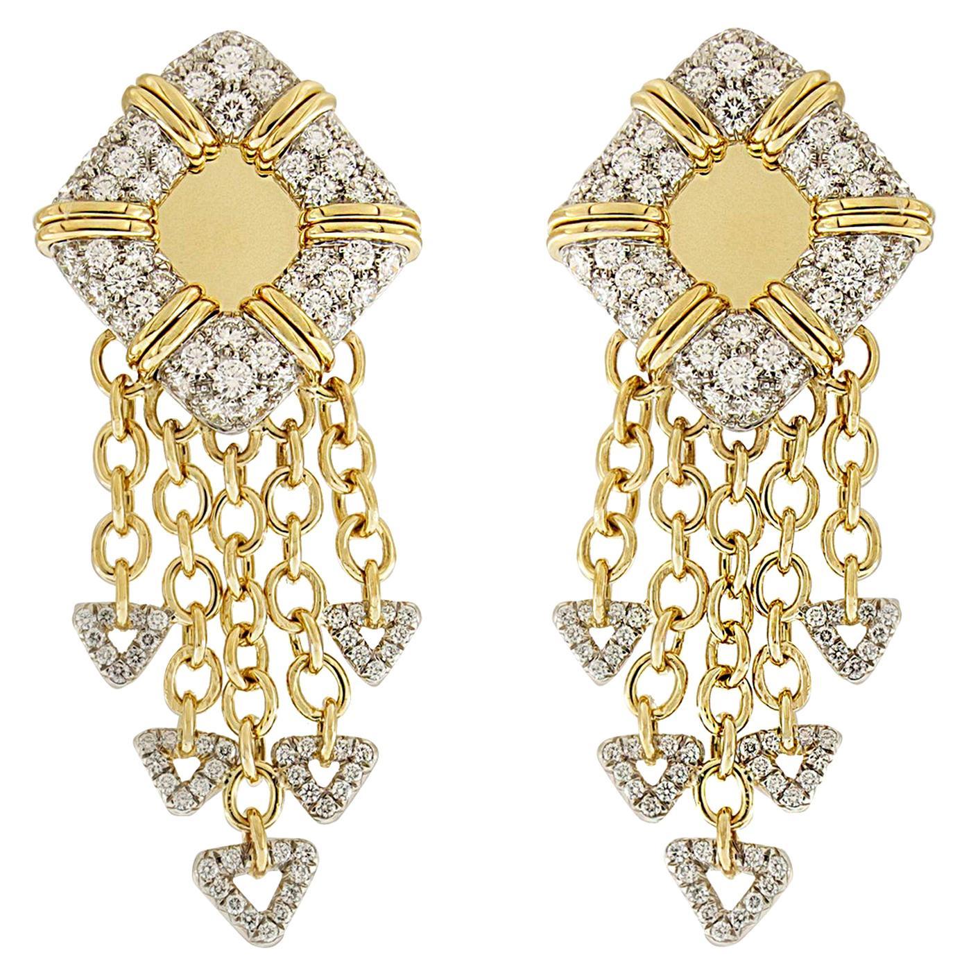 Valentin Magro Yellow Gold White Gold Life Saver Diamond Earrings