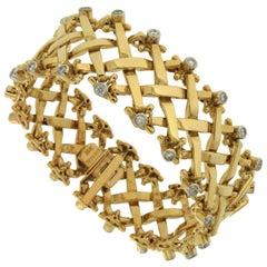 Valentin Magro Yellow Gold Woven Bracelet with Diamonds