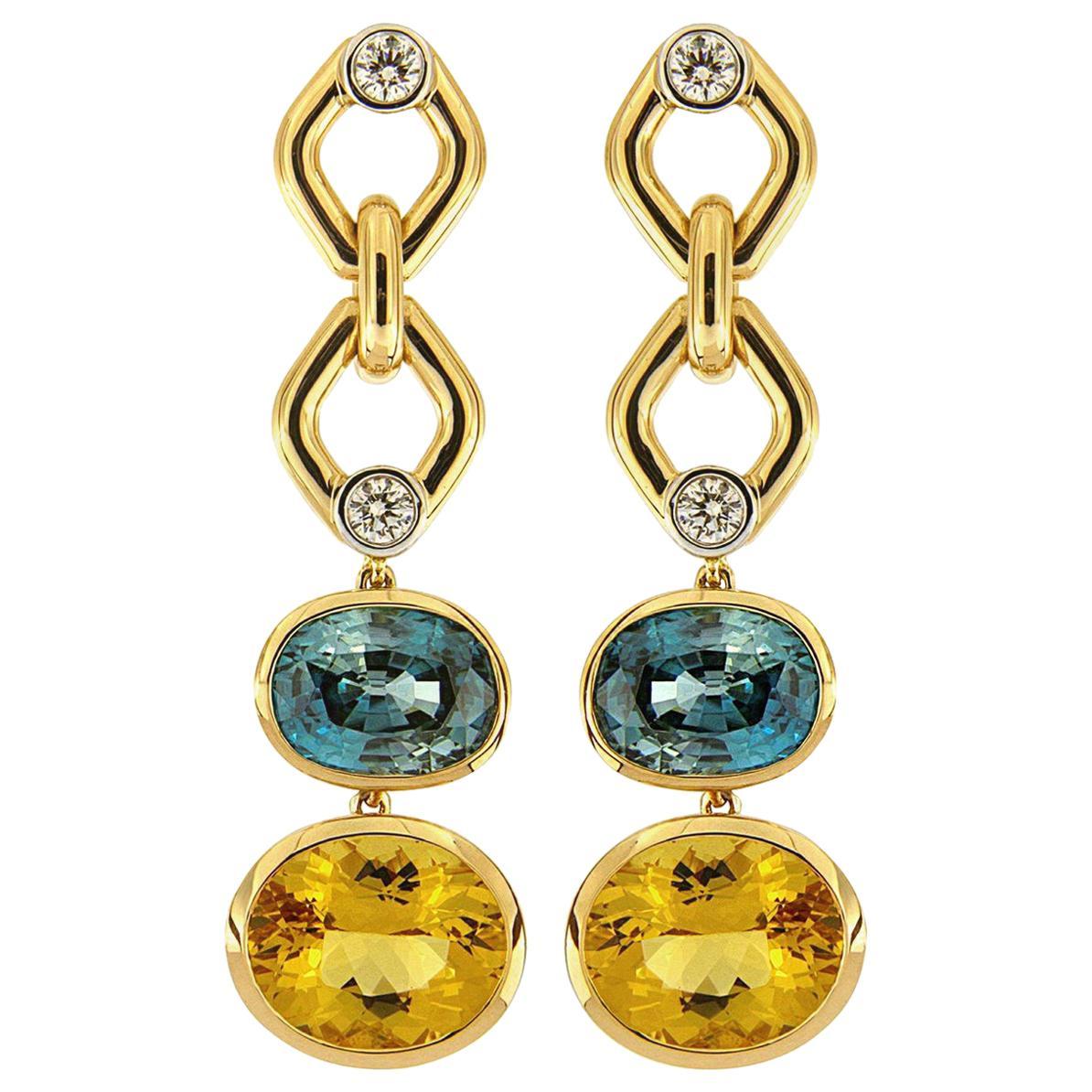 Valentin Magro Zircon and Beryl with Round Brilliant Cut Diamonds Earrings