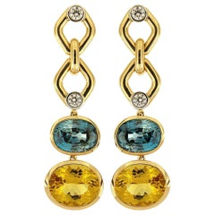 Valentin Magro Zircon and Beryl with Round Brilliant Cut Diamonds Earrings