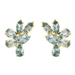 Valentin Margro Floral Aquamarine earrings in Gold