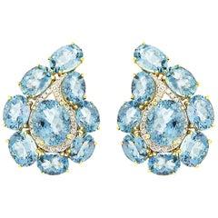 Valentin Margro Paisley Aquamarine and Diamond Earrings