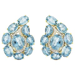 Valentin Margro Paisley Aquamarine and Diamond Earrings