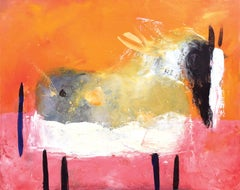"""""""Grey Spotted Horse in Pink Field"""", expressive lines in pinks and oranges"""