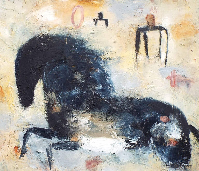 Valentina DuBasky Abstract Painting - Horse and Figures in Grey Field