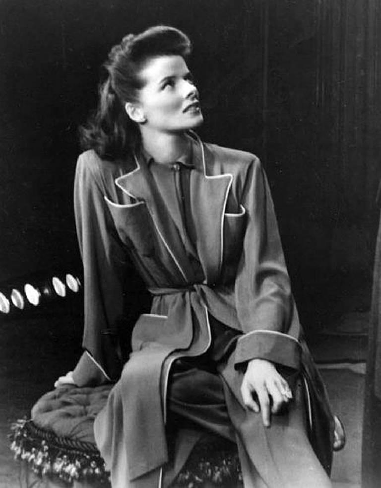This ensemble is from the Katharine Hepburn Theatre Collection. The leisure ensemble  was designed by Valentina for Katharine Hepburn's role in the 1942 play