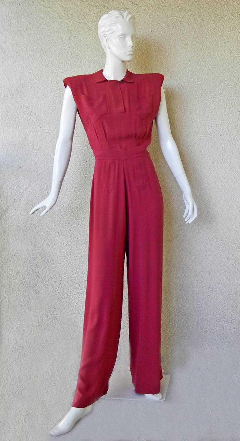 Red Valentina Katharine Hepburn Theatre Collection Jumpsuit Ensemble Museums, 1942 For Sale