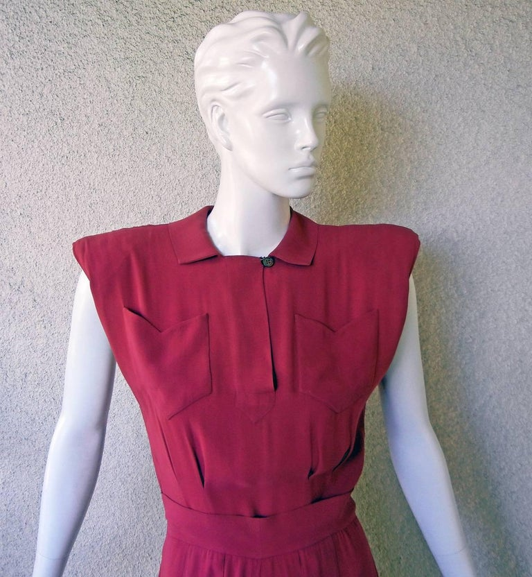 Valentina Katharine Hepburn Theatre Collection Jumpsuit Ensemble Museums, 1942 In Excellent Condition For Sale In Los Angeles, CA