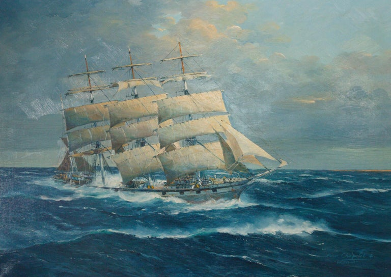 (1903 -). Oil on canvas. This is one in our collection of nine paintings by Roger Chapelet. Collected by Bob and Kathy David directly from the artist, through a gallery in California, over 20 years. Possibly the largest private collection. All