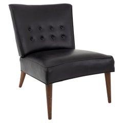Valentine Seaver for Kroehler Mid Century Black Vinyl Slipper Lounge Chair